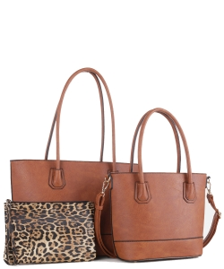 Fashion Faux Leather 3 in 1 Handbag FC19116 BROWN
