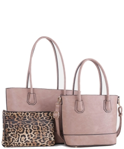 Fashion Faux Leather 3 in 1 Handbag FC19116 TAUPE