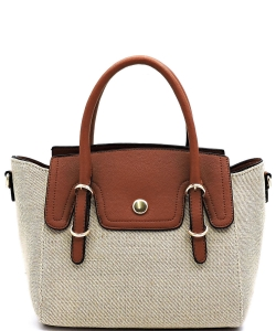 Fashion Colorblock Canvas Satchel FC19508 BROWN