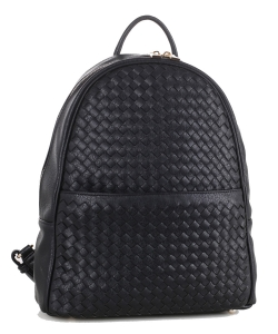 Woven Faux Leather Backpack FC19538 BLACK