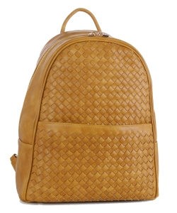 Woven Faux Leather Backpack FC19538 MUSTARD