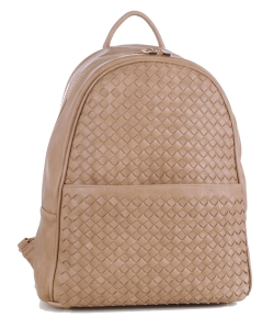 Woven Faux Leather Backpack FC19538 TAUPE