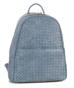 Woven Faux Leather Backpack FC19538 VBLUE