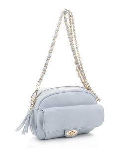 Tassel Twistlock Crossbody Bag FC20143 LBLUE