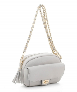 Tassel Twistlock Crossbody Bag FC20143 LGRAY