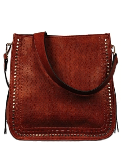 Textured Whipstich Studded Hobo FL1703 COGNAC