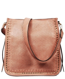 Textured Whipstich Studded Hobo FL1703 PINK