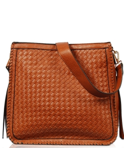 Solid Stitched Messenger Bag With Strap FL1803 COGNAC