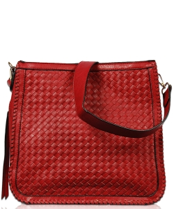 Solid Stitched Messenger Bag With Strap FL1803 RED