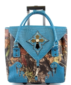 Orange Camouflage Cross Rollie Tote G1255 BLUE