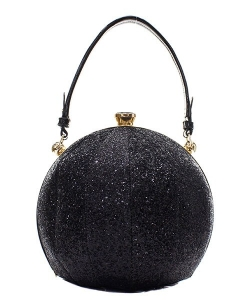 Fashion Faux Leather Glitter Handbag GB-701 BLACK
