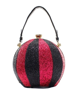 Fashion Faux Leather Glitter Handbag GB-701 BLACK/RED