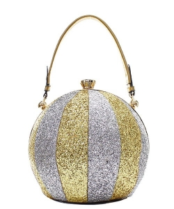 Fashion Faux Leather Glitter Handbag GB-701 GOLD/SILVER