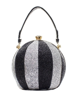 Fashion Faux Leather Glitter Handbag GB-701 SILVER/BLACK