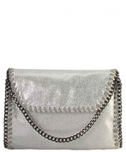 Metal Color PU Leather Chain Edging Cross Body Handbag GF6518 SILVER