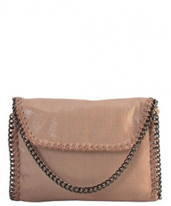 Metal Color PU Leather Chain Edging Cross Body Handbag GF6518 TAUPE