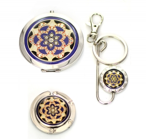 Cosmetic Compact Flower Print Mirror Magnifying,Handbag Holder,Key Chain 3 Piec Set GFT84-0422AT