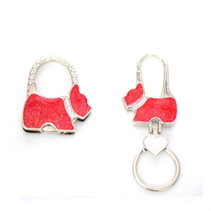 Doggy Handbag Holder,Key Chain 2 Piec Set GFT84-0719AT Red
