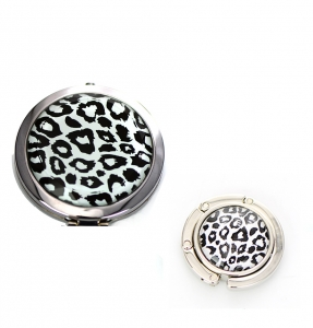 Cosmetic Compact Leopard Print Mirror Magnifying & Handbag Holder 2 Piec Set GFT84-0413AT