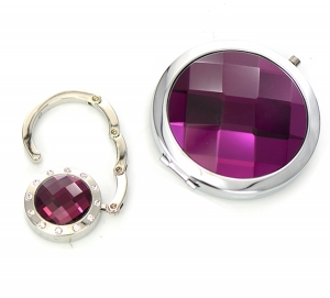Cosmetic Compact Mirror Crystal Magnifying & Handbag Holder 2 Piec Set GFT84-0419AT Purple