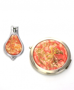 Cosmetic Compact Flower Mirror Magnifying & Nail Clipper 2 Piec Set GFT84-0420AT Coral