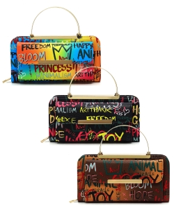 Package of 6 Pieces Multi Graffiti Print Round Top Handle Crossbody Bag GP038