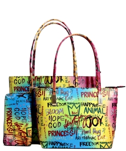 Graffiti Print 3in1 Twin Tote Bag Wallet Set GP2669 BLUE