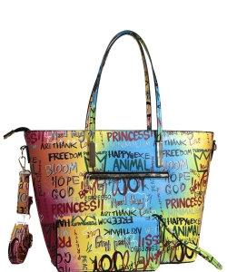 Graffiti Effect Shoulder Bag GP708 BLUE