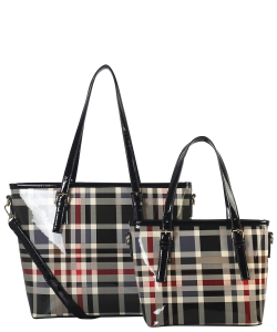 Tote Multicolor 2 IN 1 TWO TONE CHECKERD TOTE BAG GZ6927 BLACK