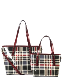 Tote Multicolor 2 IN 1 TWO TONE CHECKERD TOTE BAG GZ6927 RED