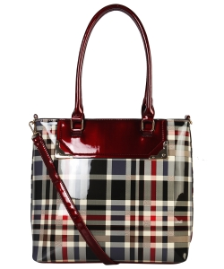 Patent Flannel Faux Leather Shoulder GZ6930 RED