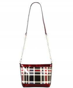 Patent Leather Multi color CHECKERS Cross body BAG GZ6932 RED