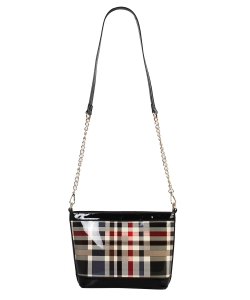 Patent Leather Multi color CHECKERS Cross body BAG GZ6932 BLACK