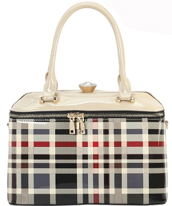 Designer Patent Checkered Framed Bag GZ-7103 BEIGE