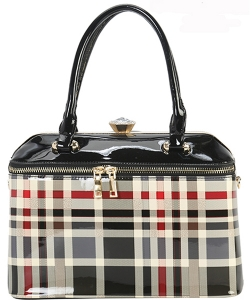 Designer Patent Checkered Framed Bag GZ-7103 BK