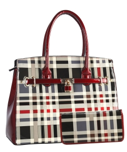 2 in 1 Fashion Plaid Checkered Padlock Satchel Wallet Set GZT-7300 RED