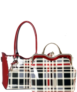 Plaid Check Leatherette Metal Handle 2in1 Bag GZT6450 RED