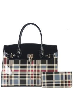 Plaid Design Patent Leather Medium Satchel with padlock deco plus  Matching Wallet GZT6726 BLACK