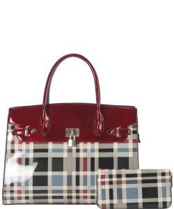 Plaid Design Patent Leather Medium Satchel with padlock deco plus  Matching Wallet GZT6726 RED