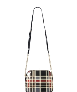 Plaid Check Dome-Shaped Crossbody Bag GZT6994 BLACK
