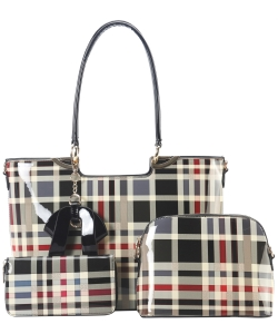 3in1 Designer Modern Check Satchel With Long Strap GZT-7302 BLACK