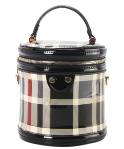Patent Leather Checkered Cylinder Bag GZT8121 black