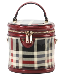Patent Leather Checkered Cylinder Bag GZT8121 red