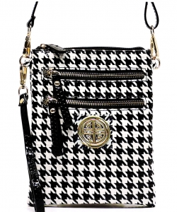 Houndstooth Patent Leather  Bag H002L Black