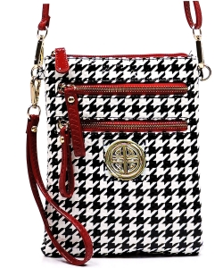 Houndstooth Patent Leather  Bag H002L  Red