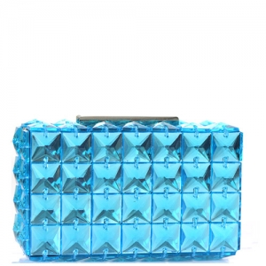 Elegant Cube Bebe Rose Evening Clutch Embellished Accent H14008 Blue