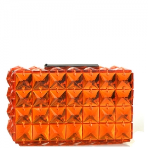 Elegant Cube Bebe Rose Evening Clutch Embellished Accent H14008 Orange