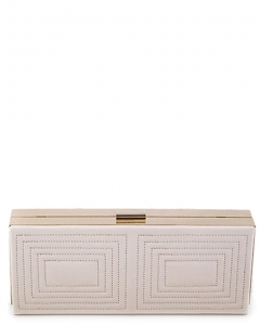 Stitched Design Metal Case Clutch Purse H1601 BEIGE