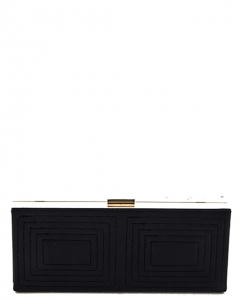 Stitched Design Metal Case Clutch Purse H1601 37250 Black