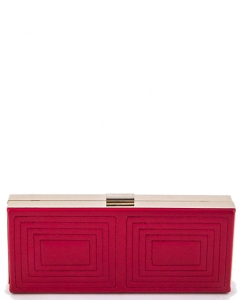 Stitched Design Metal Case Clutch Purse H1601 37250 Red